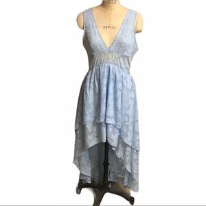 Ina blue lace high low dress